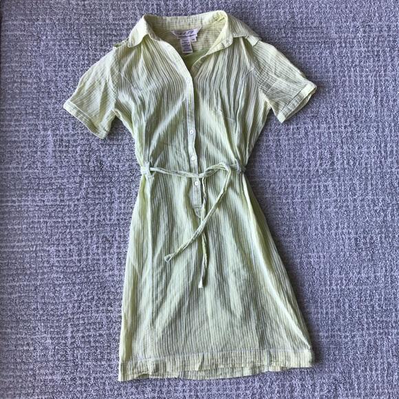 Max Studio Dresses Lime Green Seersucker Shirt Dress Xs Poshmark